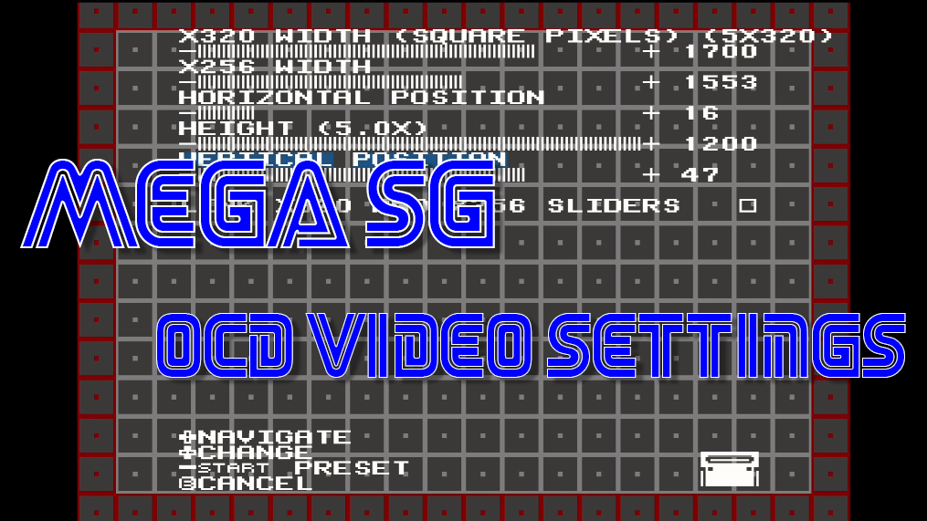 Mega Sg OCD Video Settings