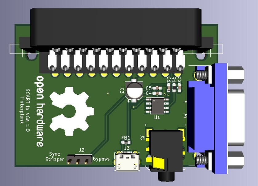 Tinkerplunk has made a SCART to VGA PCB